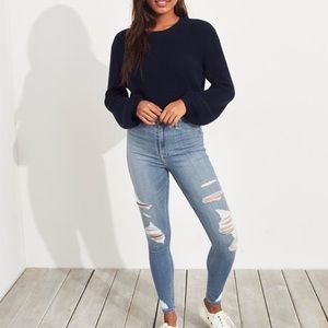 Hollister Ripped Light Wash Skinny High Rise Jeans